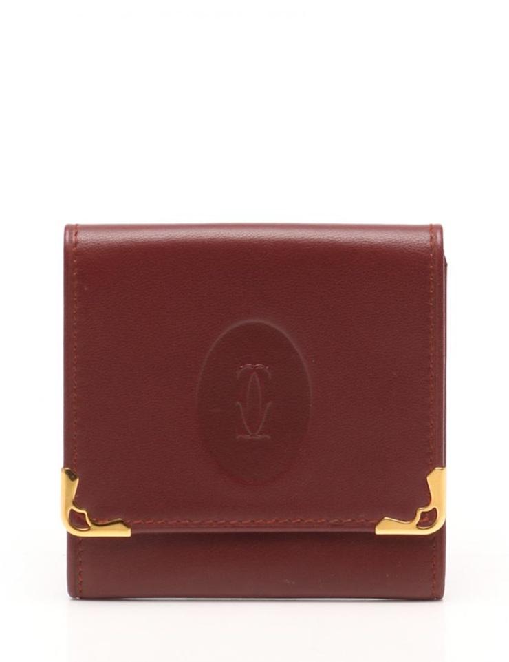 【エントリーでポイント10倍!4/9~】超美品 Cartier カルティエ マストライン コインケース レザー ボルドー ヴィンテージ ユニセックス【本物保証】【中古】