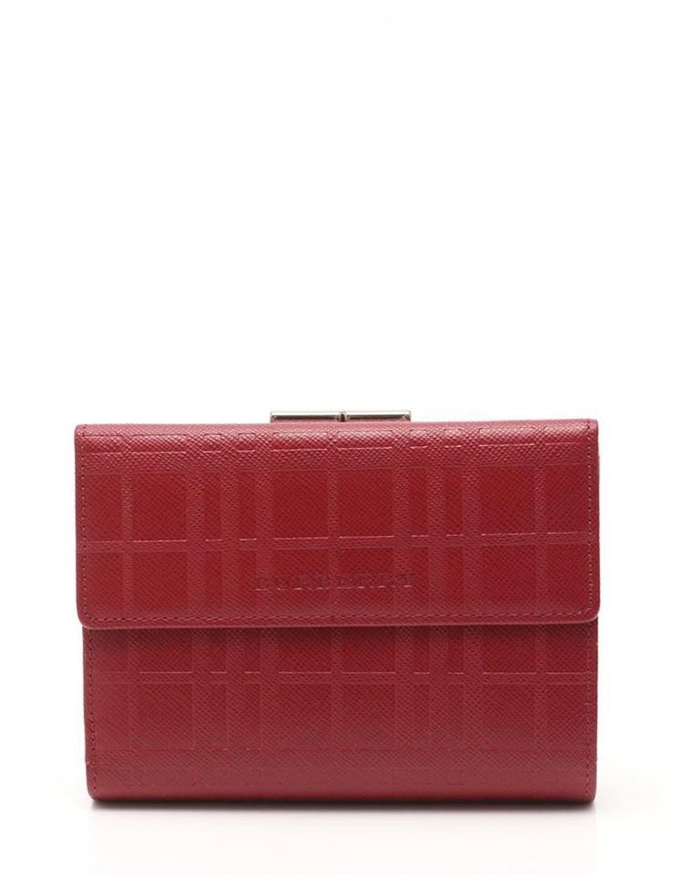 新品未使用展示品 BURBERRY バーバリー 三つ折り財布 チェック柄 レザー 赤 がま口 型押し レディース【本物保証】【中古】