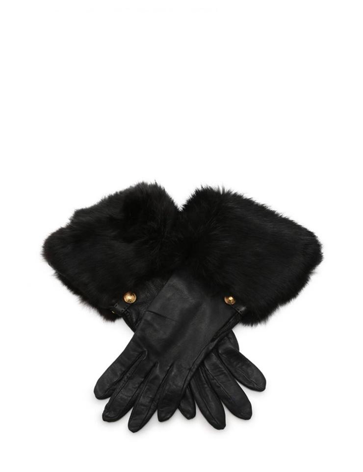超美品 HERMES エルメス グローブ 手袋 レザー ファー 黒 レディース【本物保証】【中古】