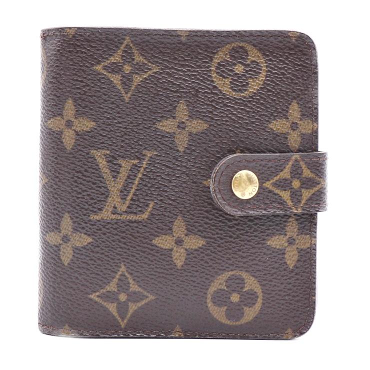 LOUIS VUITTON ルイヴィトン コンパクトジップ モノグラム 二つ折り財布 PVC レザー 茶 M61667【本物保証】【中古】
