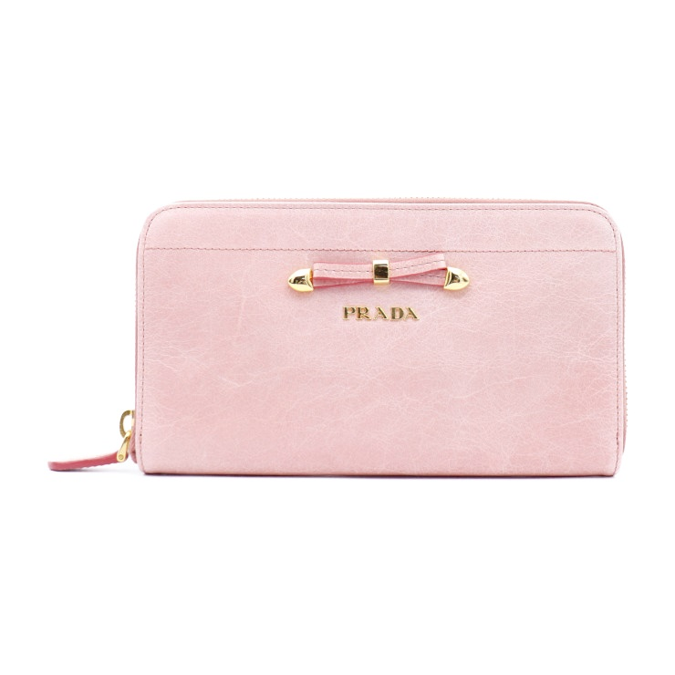 fe6184af6cc Super beautiful article PRADA Prada round fastener long wallet 1M0506  leather pink lady  genuine guarantee