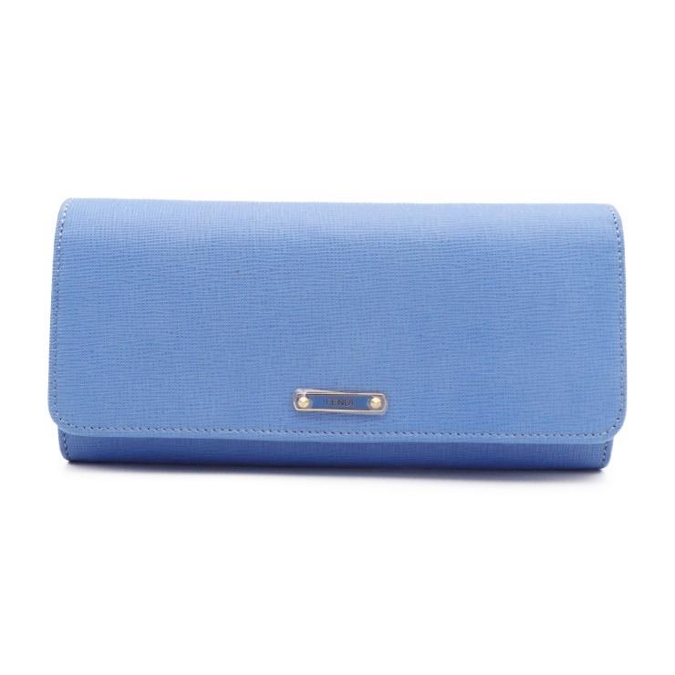 17b206c1f Super beautiful article FENDI Fendi crayon folio long wallet BM0251 leather  blue Lady's wallet [genuine guarantee]