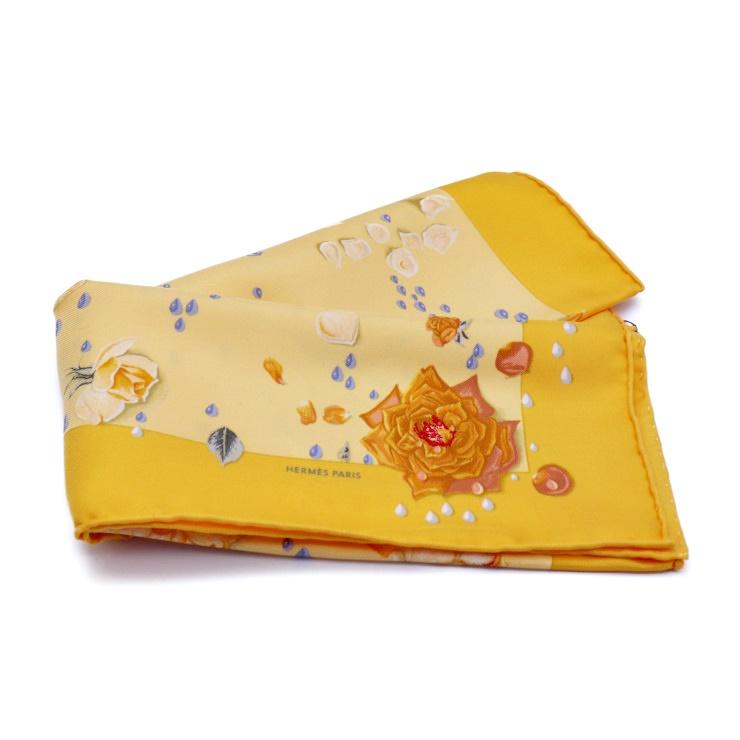 新品未使用展示品 HERMES エルメス プチカレ スカーフ オレンジ系 シルク100% レディース【本物保証】【中古】