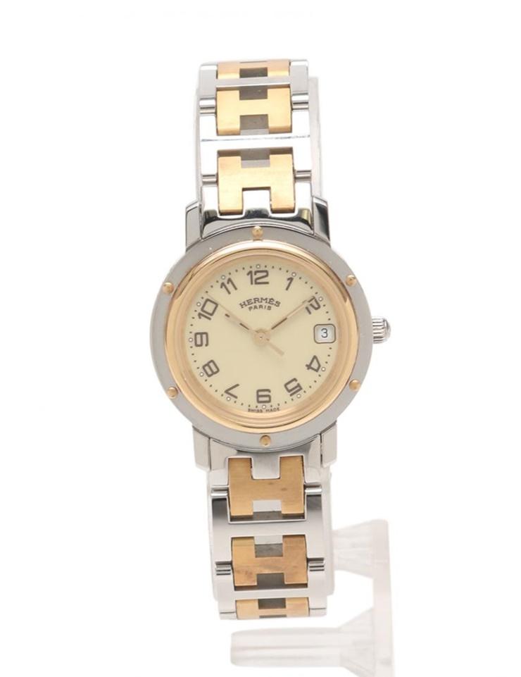 美品 HERMES エルメス クリッパー レディース 腕時計 CL4.220 クオーツ SS シルバー ゴールド ベージュ文字盤【本物保証】【中古】