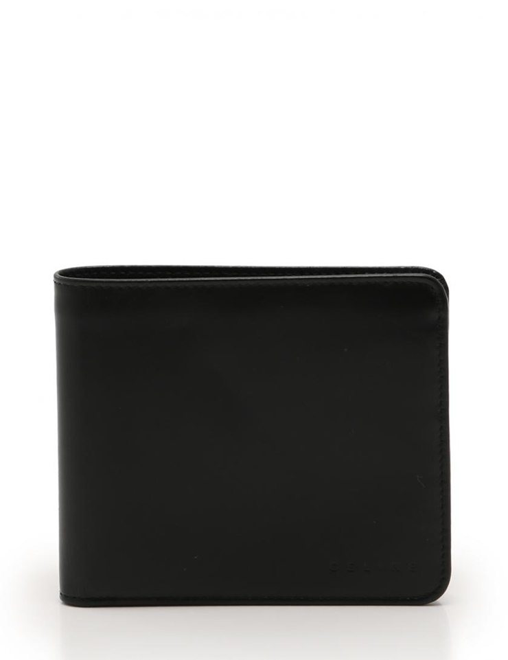 CELINE セリーヌ 二つ折り財布 レザー 黒 メンズ【本物保証】【中古】