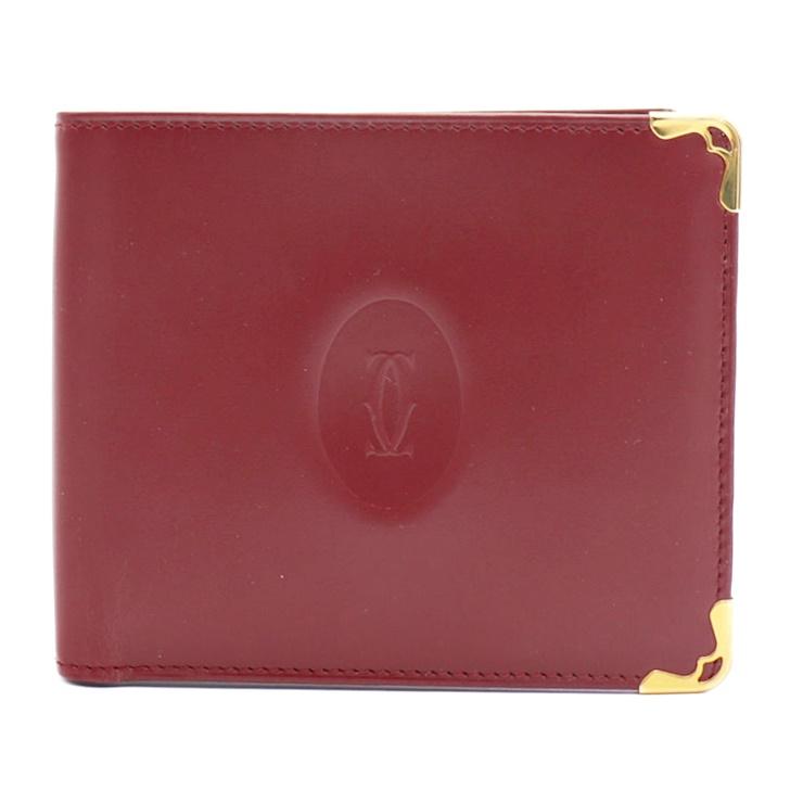 【エントリーでポイント10倍!4/9~】新品未使用展示品 Cartier カルティエ 二つ折り財布 ボルドー レザー レディース財布【本物保証】【中古】