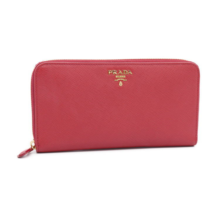 b6ef5b8cf52 New article-free display PRADA Prada round fastener long wallet 1ML506  サフィアーノレザー red red Lady s