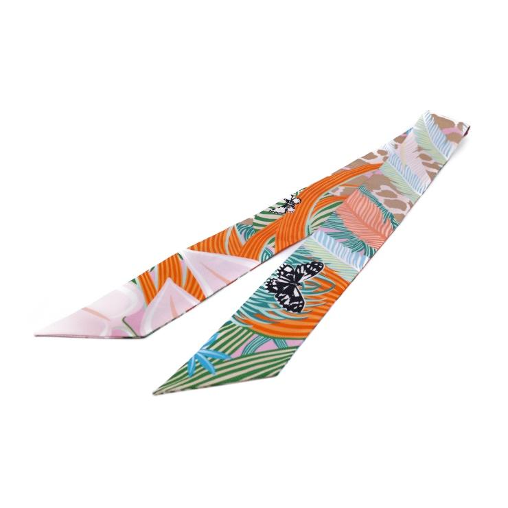 【エントリーでポイント10倍!4/9~】新品未使用展示品 HERMES エルメス ツイリー スカーフ シルク100% マルチ ピンク オレンジ【本物保証】【中古】