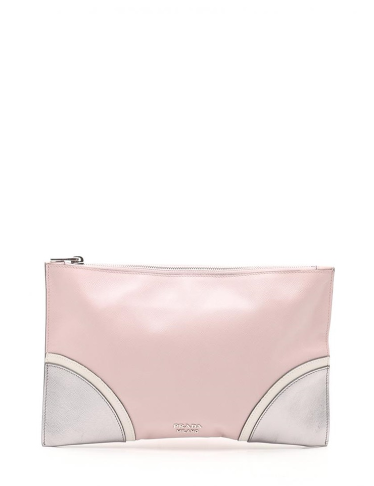 5647f067a308 New article-free display PRADA Prada SAFFIANO LUX clutch bag BP868L  サフィアーノレザーピンク white silver  genuine guarantee