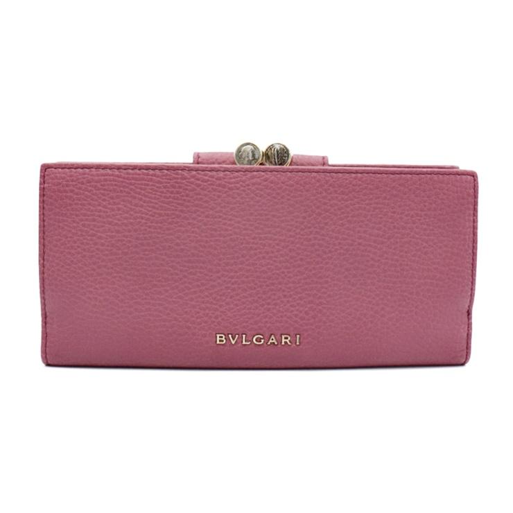 4085f2c45ca2 超美品 BVLGARI ブルガリ モネーテ 2つ折り がま口付長財布 ピンクパープル レザー レディース