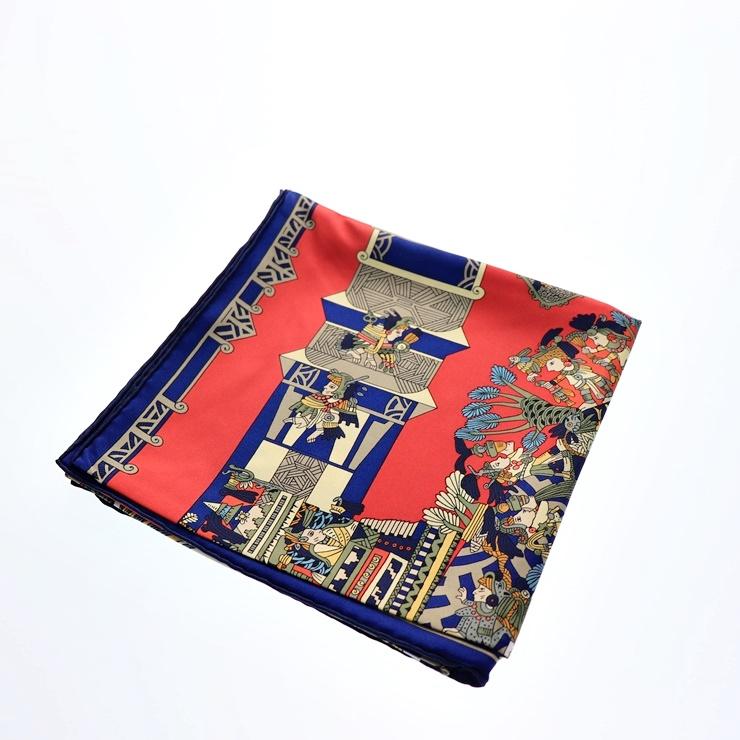 新品未使用展示品 HERMES エルメス カレ90 スカーフ 赤 白 ネイビー シルク【本物保証】【中古】