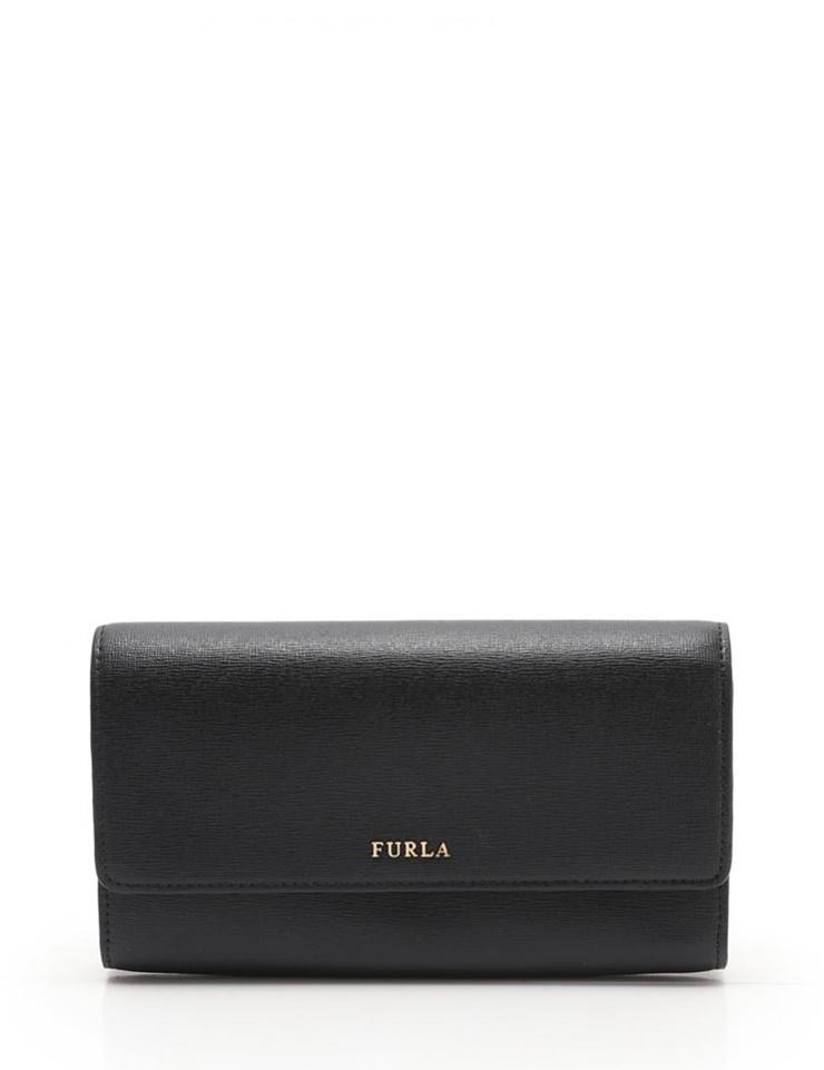 新品未使用展示品 FURLA フルラ 二つ折り長財布 856768 レザー 黒 クラッチ【本物保証】【中古】