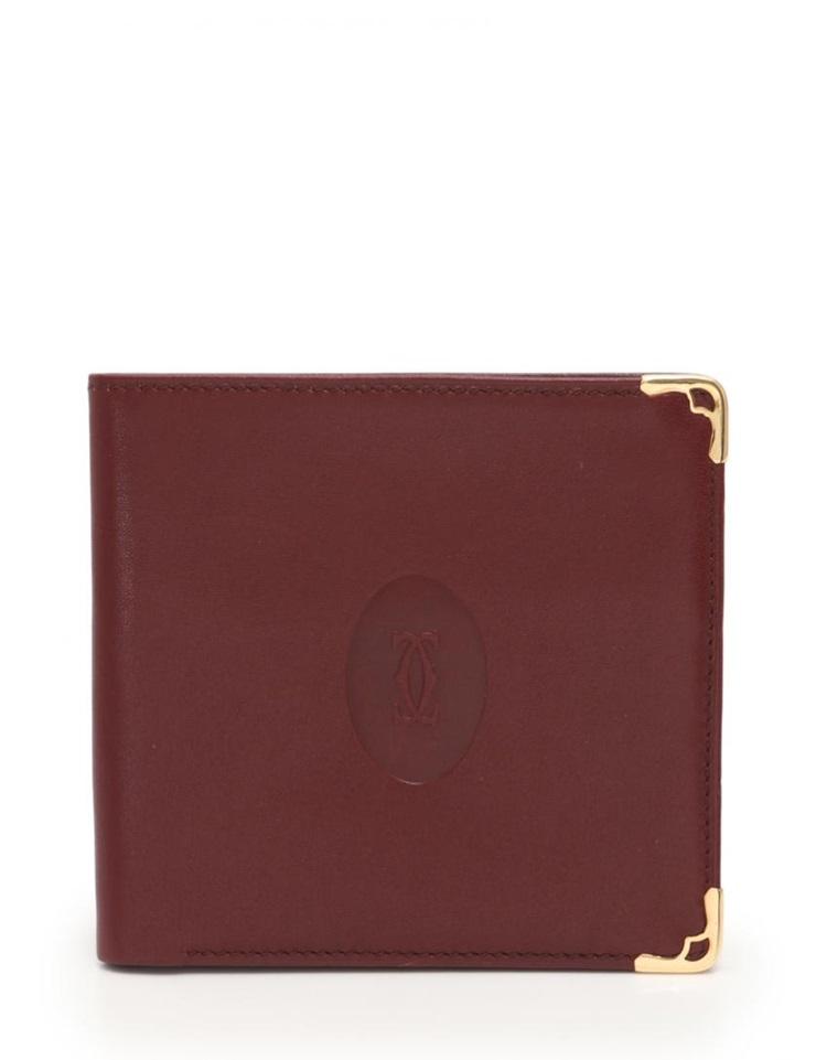 超美品 Cartier カルティエ マストライン 二つ折り札入れ レザー ボルドー メンズ【本物保証】【中古】