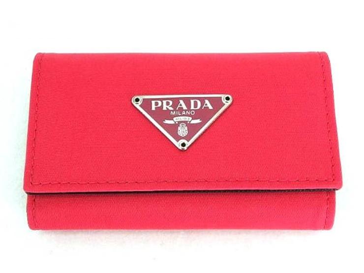 超美品 PRADA プラダ 6連 キーケース M222 ナイロン ピンク 小物 【本物保証】【中古】