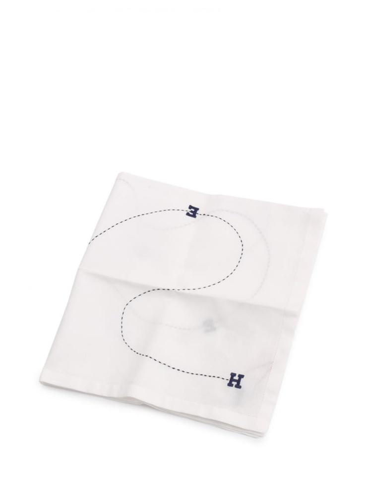 新品未使用展示品 HERMES エルメス ハンカチ コットン 白 ホワイト 黒 ブラック 刺繍【本物保証】【中古】