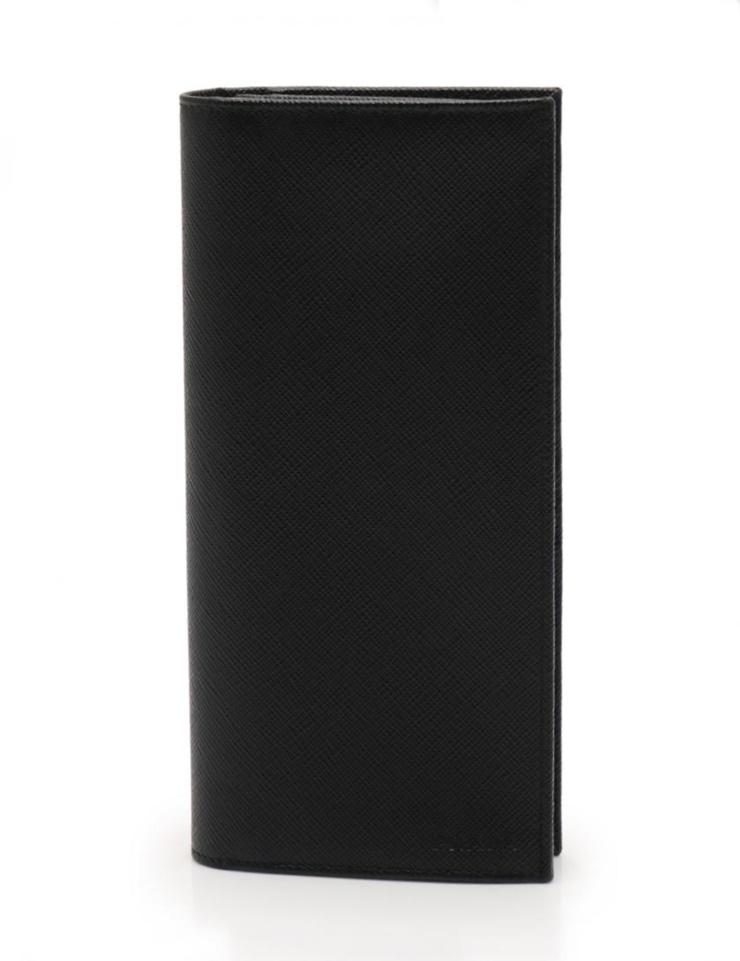 超美品 PRADA プラダ 二つ折り長財布 サフィアーノレザー 黒 ブラック メンズ【本物保証】【中古】