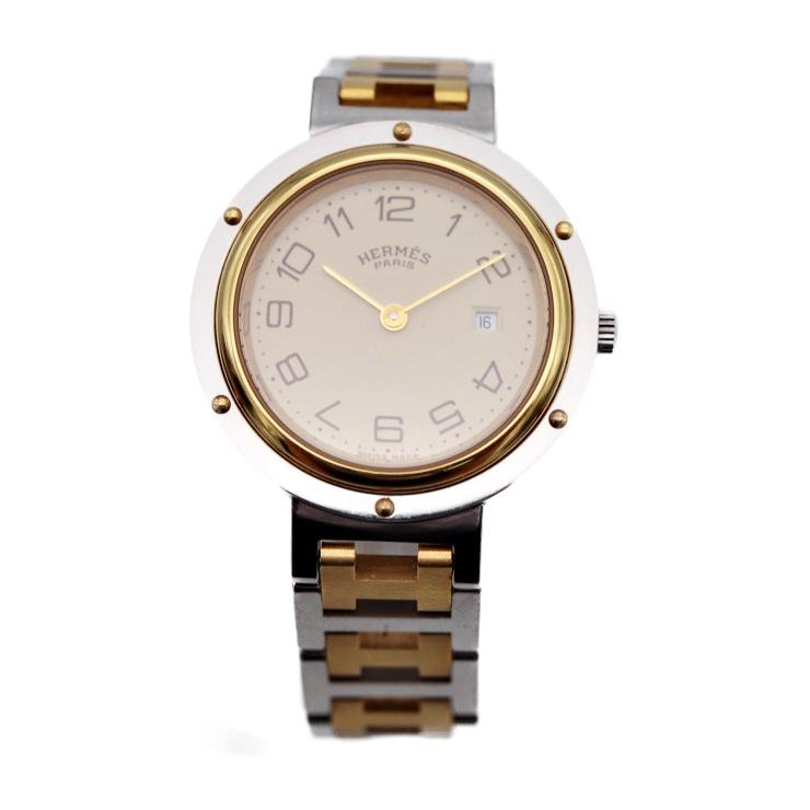HERMES エルメス クリッパー ボーイズ 腕時計 CL4.420 クオーツ SS シルバー ゴールド アイボリー文字盤 ユニセックス【本物保証】【中古】