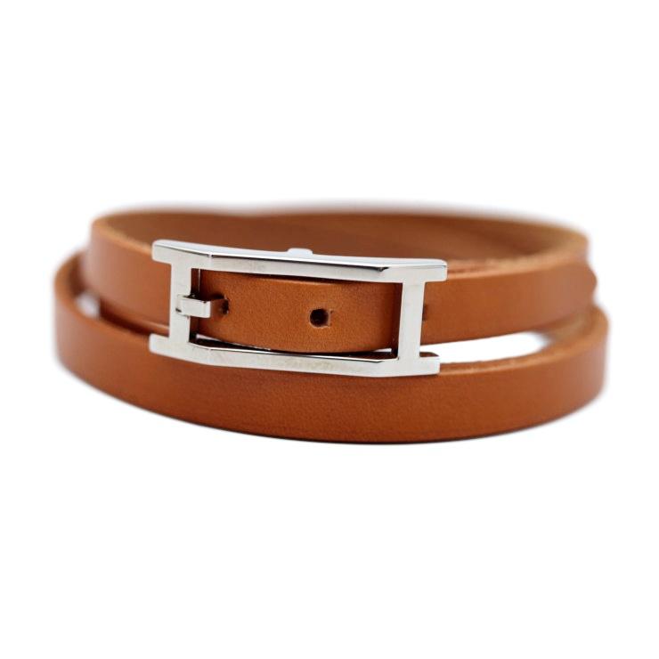 48aae2d7a Super beautiful article HERMES エルメスアピ 3 bracelet leather brown accessories  [genuine guarantee]