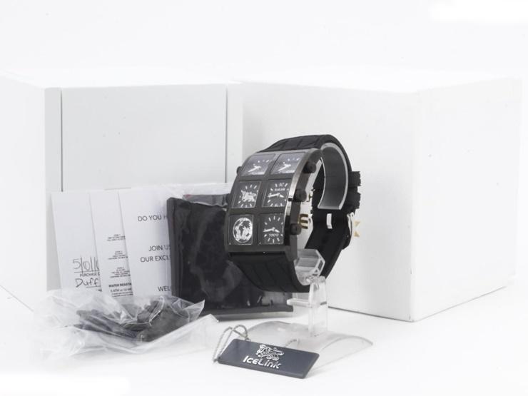 美品 ICE LINK アイスリンク ジェネレーション 4タイムゾーン クォーツ メンズ 腕時計 D509.149S SS ラバー 黒文字盤【本物保証】【中古】