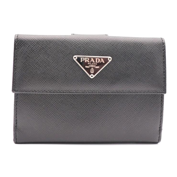 ブラック【本物保証】【中古】 Wホック プラダ PRADA 2つ折り財布 M523A サフィアーノレザー 超美品