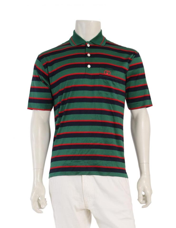 1c676586637 New article-free display GUCCI Gucci interlocking grip G polo shirt  horizontal stripes green navy red vintage maker size S apparel men  genuine  guarantee