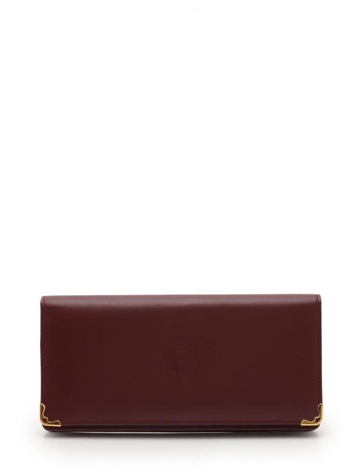 美品 Cartier カルティエ マストライン 二つ折り長財布 レザー ボルドー レディース【本物保証】【中古】