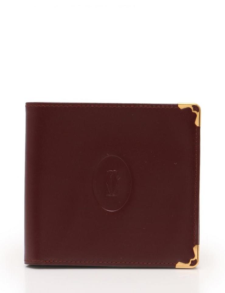 超美品 Cartier カルティエ マストライン 二つ折り 札入れ 財布 レザー ボルドー【本物保証】【中古】