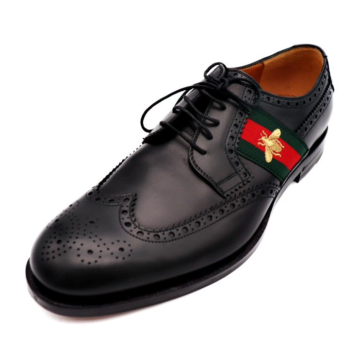New article,free display GUCCI Gucci wing tip business shoes sherry Bee  black green red gold notation size 10 reference size 29cm