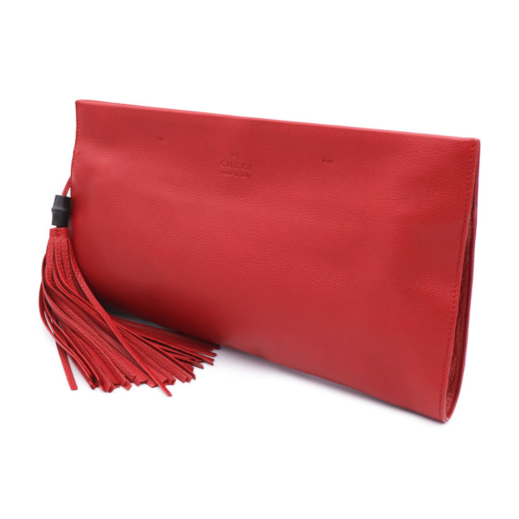 a6dcf67d9 Beautiful article GUCCI Gucci fringe clutch bag 347108 leather red red  Lady's [genuine guarantee]