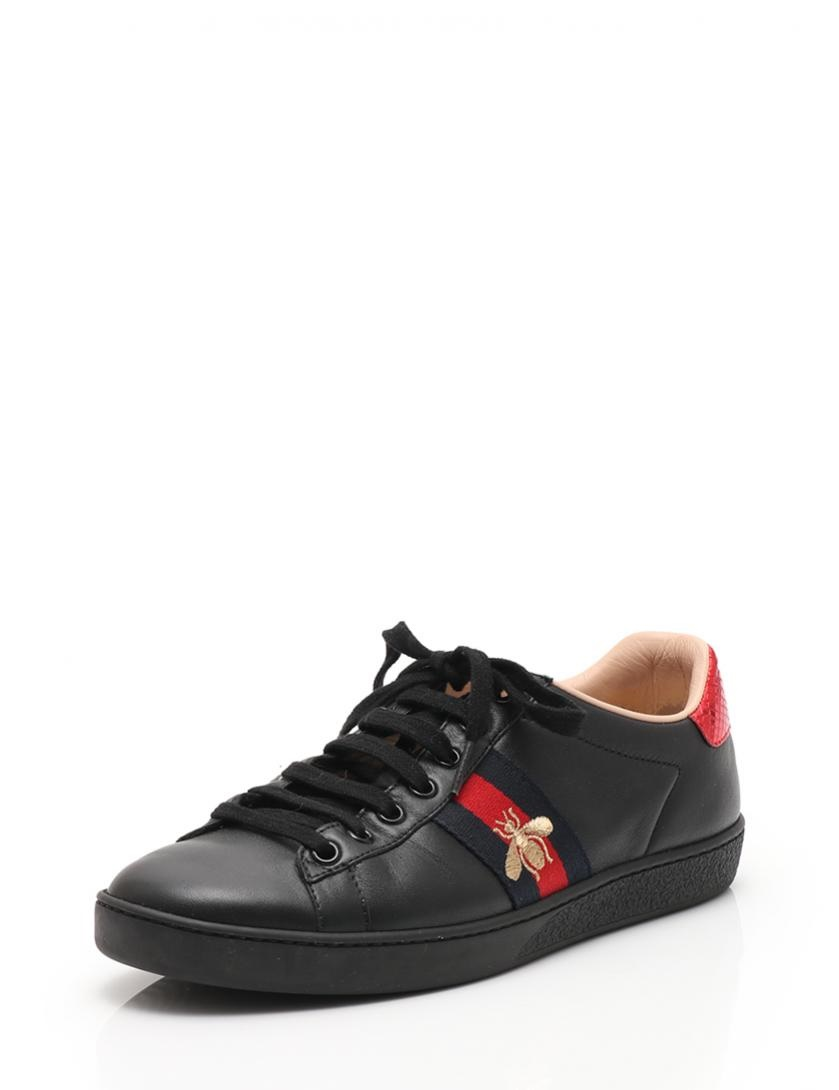 98ea3661b0 Beautiful article GUCCI Gucci ace embroidery sneakers leather black black  red men reference size 25cm