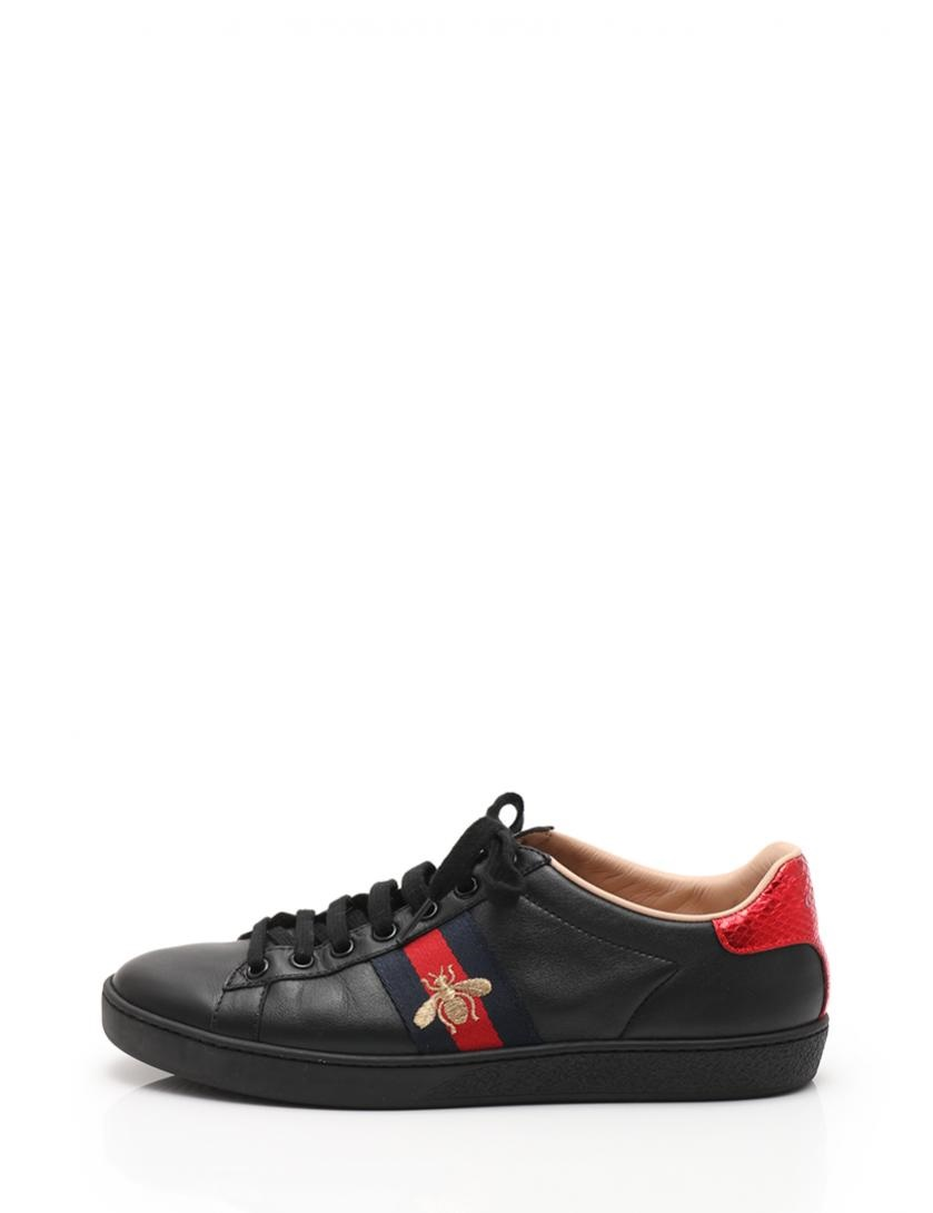e5dddb9fa0d Beautiful article GUCCI Gucci ace embroidery sneakers leather black black  red men reference size 25cm  genuine guarantee
