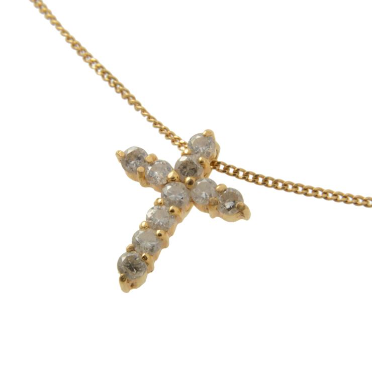 美品 貴金属 クロストップネックレス 10Pダイヤモンド 0.3ct イエローゴールド K18YG 750【本物保証】【中古】