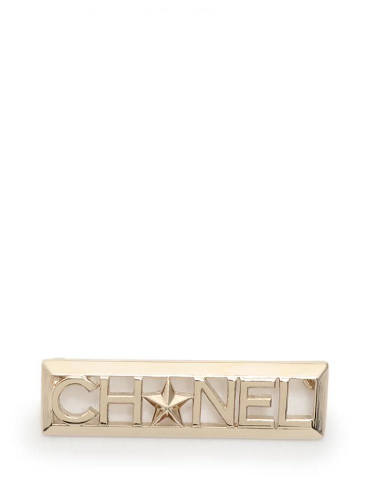 超美品 CHANEL シャネル ブローチ シャンパンゴールド ロゴ スター A17 C【本物保証】【中古】