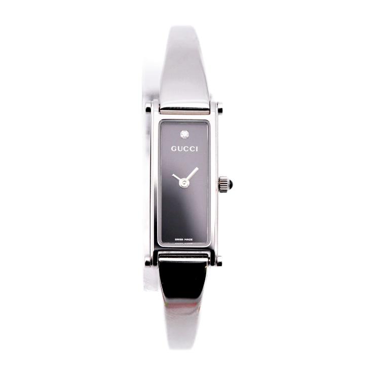 超美品 GUCCI グッチ 腕時計 1500L 1Pダイヤモンド SS シルバー ブラック レディース 【本物保証】【中古】