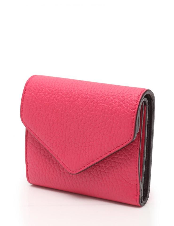 超美品 Christian Dior クリスチャンディオール 三つ折り 財布 レザー ピンク ダークブラウン【本物保証】【中古】