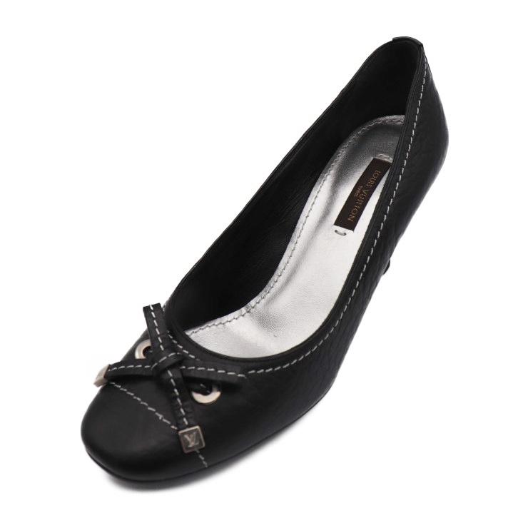 1802c87e1 Super beautiful article LOUIS VUITTON Louis Vuitton pumps leather ribbon  size 35 1/2 black [genuine guarantee]