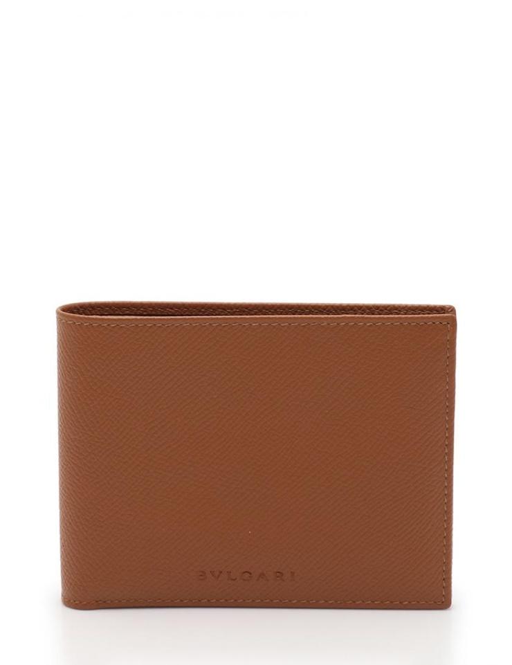 新品未使用展示品 BVLGARI ブルガリ 二つ折り財布 レザー 茶 ブラウン メンズ【本物保証】【中古】