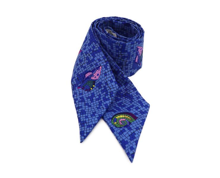 超美品 HERMES エルメス ツイリー スカーフ ブルー ネイビー シルク100% レディース小物【本物保証】【中古】
