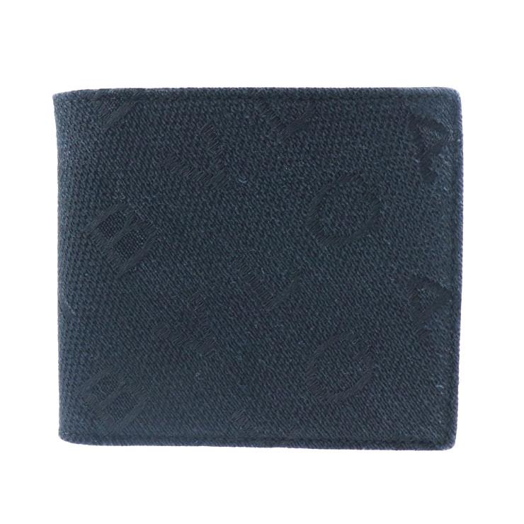 超美品 BVLGARI ブルガリ ロゴ 二つ折り財布 キャンバス レザー ブラック【本物保証】【中古】