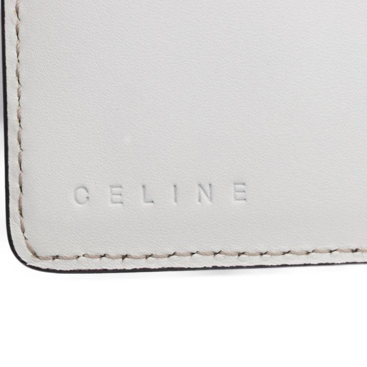 美品 CELINE セリーヌ 長財布 マカダム柄 二つ折り財布 107622BLN レザー キャンバス ベージュ ホワイト 本物保証35j4LAR