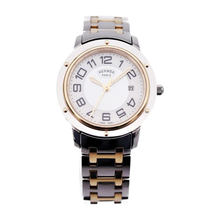 美品 HERMES エルメス クリッパー CP1.320 シェル SS YG クォーツ 腕時計 SS YG シルバー ゴールド レディース腕時計【本物保証】【中古】