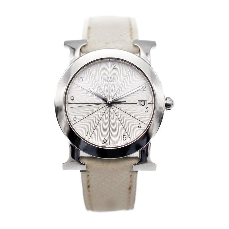 HERMES エルメス Hウォッチ ロンド 腕時計 HR1.510 230 ステンレススチール レザー アイボリー ホワイト文字盤 □M刻印【本物保証】【中古】