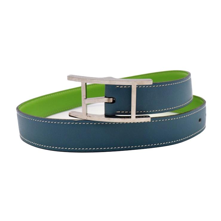 HERMES エルメス アピ3 ベルト レザー ブルー系 グリーン系 グリーン系 シルバー金具 表記サイズ 70【本物保証】【中古】