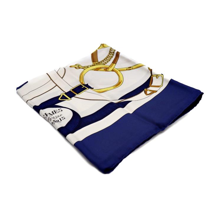 超美品 HERMES エルメス カレ 90 Eperon d'or スカーフ シルク ブルー系 ホワイト マルチカラー ホワイト マルチカラー ファッション 小物【本物保証】【中古】