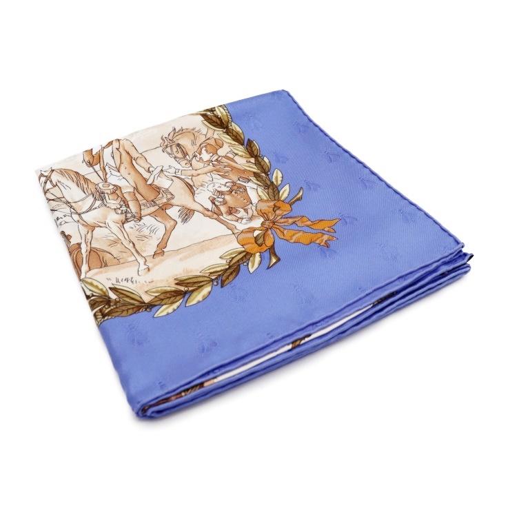超美品 HERMES エルメス NAPOLEON ナポレオン カレ90 スカーフ シルク ブルー系 マルチカラー【本物保証】【中古】