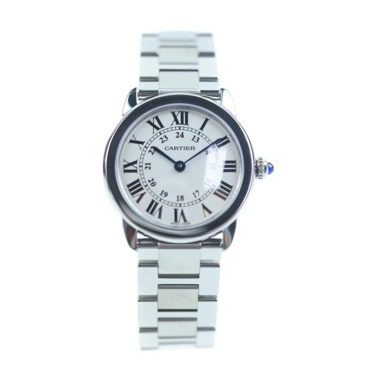 超美品 CARTIER カルティエ ロンドソロ 腕時計 W6701004 ステンレススチール シルバー ホワイト文字盤 ホワイト文字盤 レディース【本物保証】【中古】
