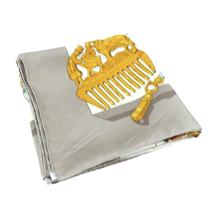 美品 HERMES エルメス カレ90 スカーフ シルク マルチカラー ベージュ Memoire d' Hermes エルメスの思い出【本物保証】【中古】