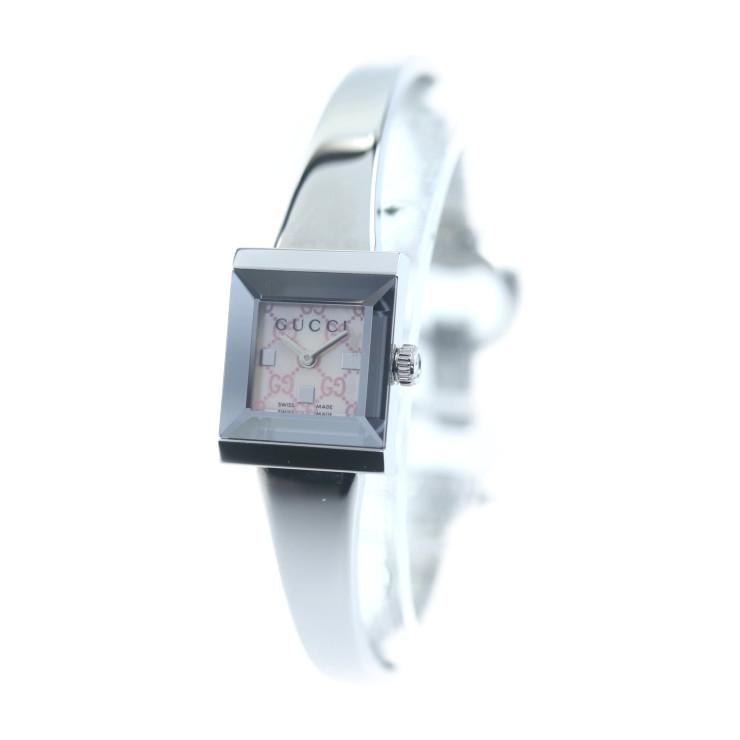 美品 GUCCI グッチ バングルウォッチ レディース 腕時計 YA128516 クオーツ SS シルバー ピンクシェル字盤【本物保証】【中古】