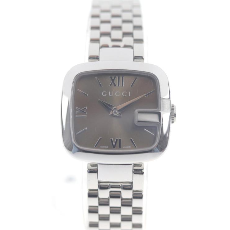 新品未使用展示品 GUCCI グッチ 腕時計 125.5 ステンレススチール シルバー ブラウン レディース【本物保証】【中古】