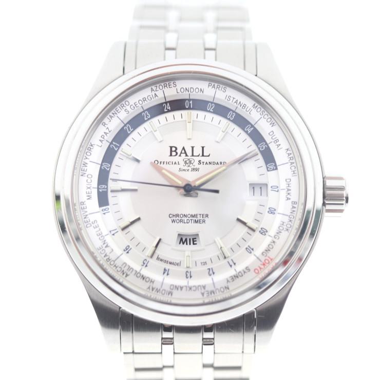 美品 BALLWATCH ボールウォッチ トレインマスター ワールドタイムII 腕時計 GM2020D-S3CJ-SL ステンレススチール シルバー 自動巻き シルバー文字盤【本物保証】【中古】